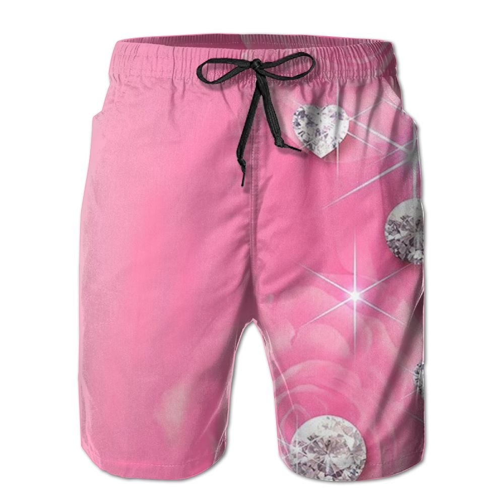 JDHFAF Pink Diamond Mens Beach Board Shorts Quick Dry Summer Casual Swimming Soft Fabric with Pocket
