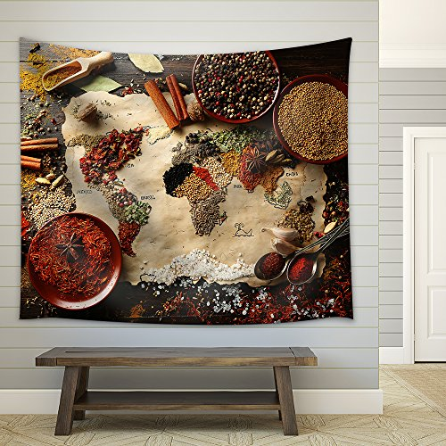 Map of World Made from Different Kinds of Spices on Wooden Background Fabric Wall Tapestry