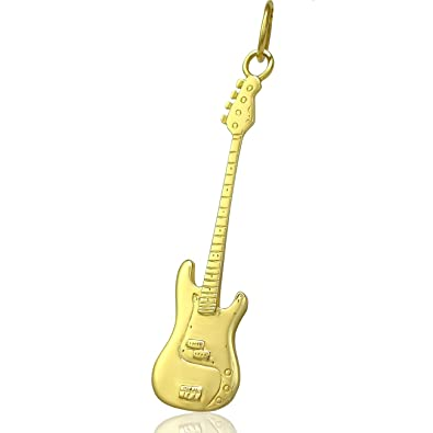 Solid 9ct Gold Fender Telecaster Electric Guitar Necklace Chain - 16