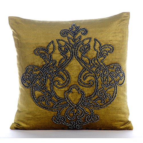 ro Shams, 26x26 Inch Euro Sham, Damask Sparkly Charcoal Grey Beads Euro Shams, Square Velvet Euro Pillow Shams, Floral Modern Euro Shams - Lord Medusa (Velvet Floral Sham)