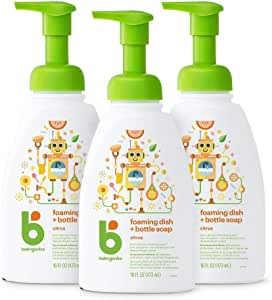 Babyganics Foaming Dish & Bottle Soap, Pump Bottle, Citrus, 16oz, 3 Pack, Packaging May Vary