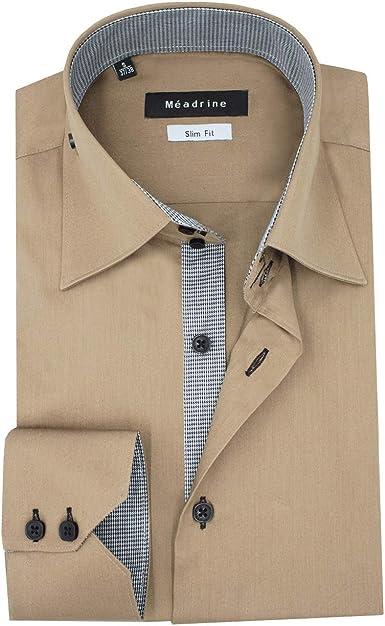 Camisa de los Hombres Slim Ajuste Biege-Bronce con la Tela de los trazadores de líneas en el pie de gallina Negra: Amazon.es: Ropa y accesorios