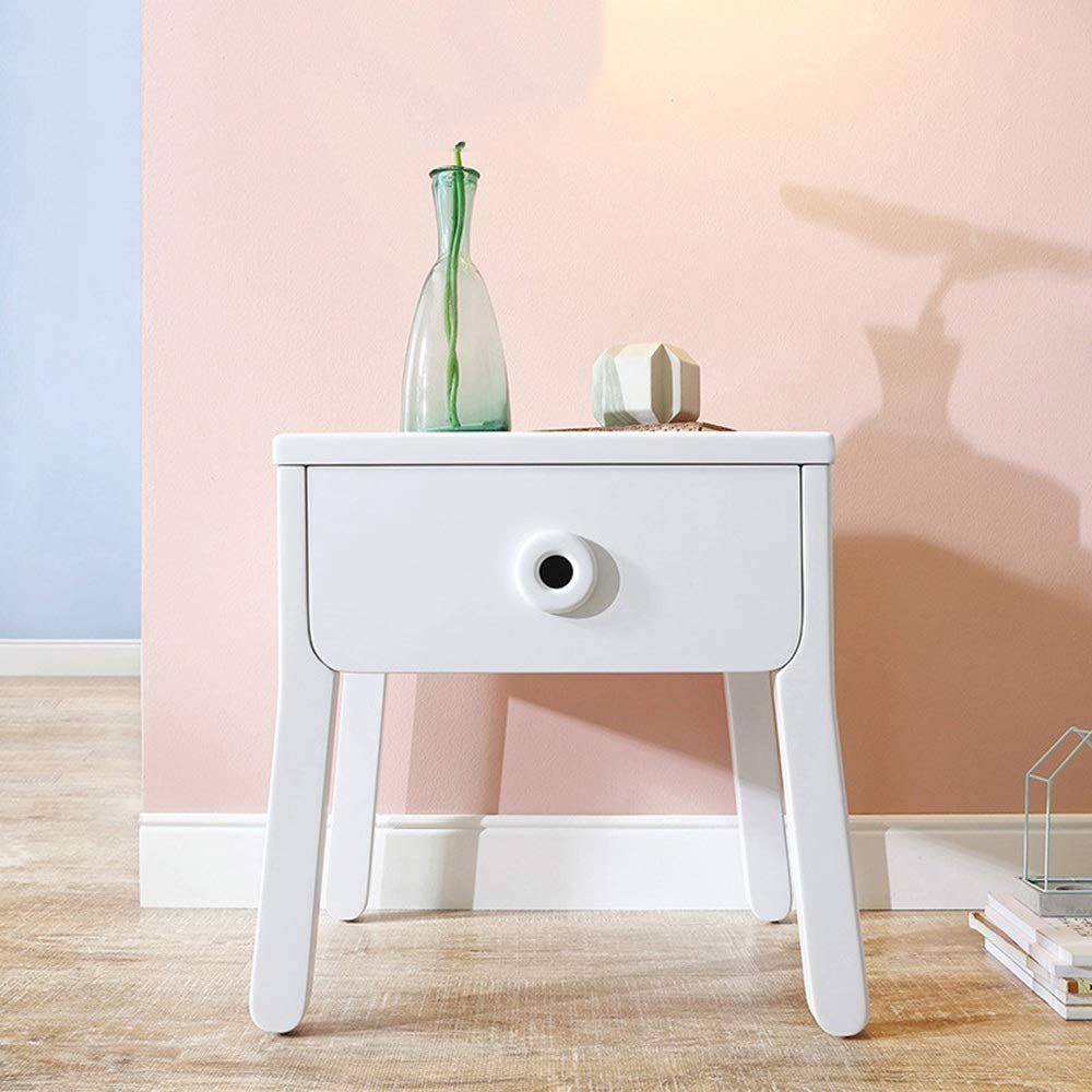 LJJL ナイトテーブル、引出しが付いている枕元の狭いキャビネット白い木製のキャビネットの大容量の収納キャビネット18.9