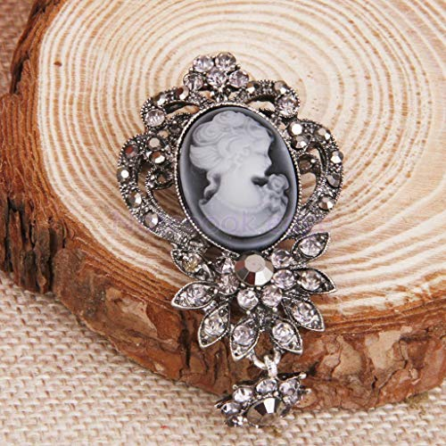 - Vintage Cameo Brooch Pin Antique Silver Gold Wedding Charm Portrait Brooch (Pattern - 5#)