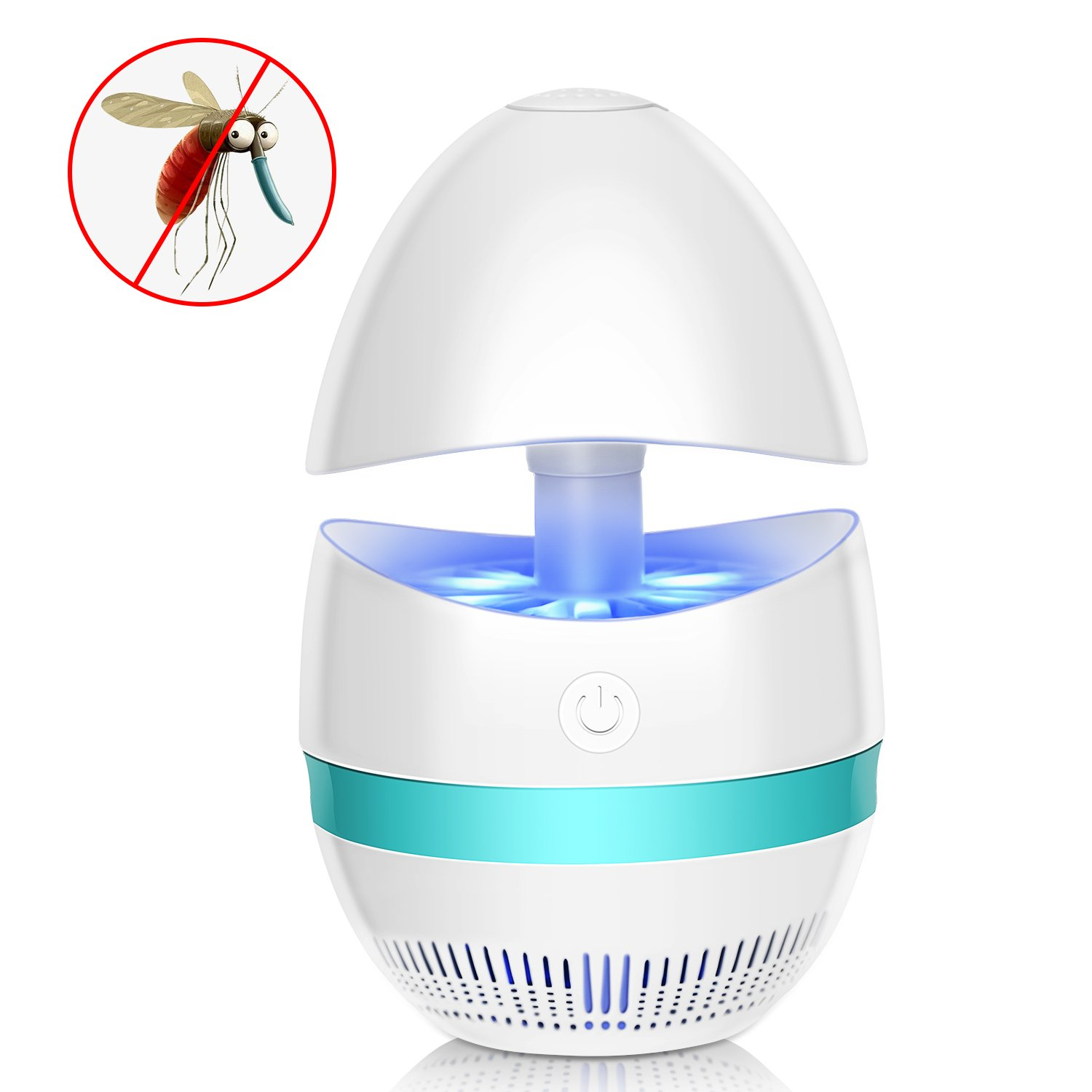 Benewell Indoor Bug Zapper, Electronic Insect Killer, USB Powered Mosquito Zapper Lamp Built with Fan Mosquito Catcher Trap for Office Home Kitchen Restaurant Garden Patio Yard & More (White)