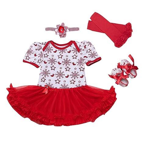 Vestido Navidad Bebés Niñas Fiesta Conjunto Manga Larga Recién Nacidos Tutu Vestido + Diadema + Polainas