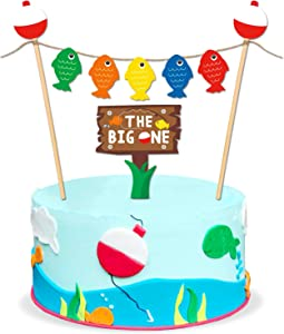 The Big One Cake Topper Bobber Gone Fishing Theme Little Fisherman Baby First Birthday Reel Fun Ideas O fish ally One Photo Props Decorations