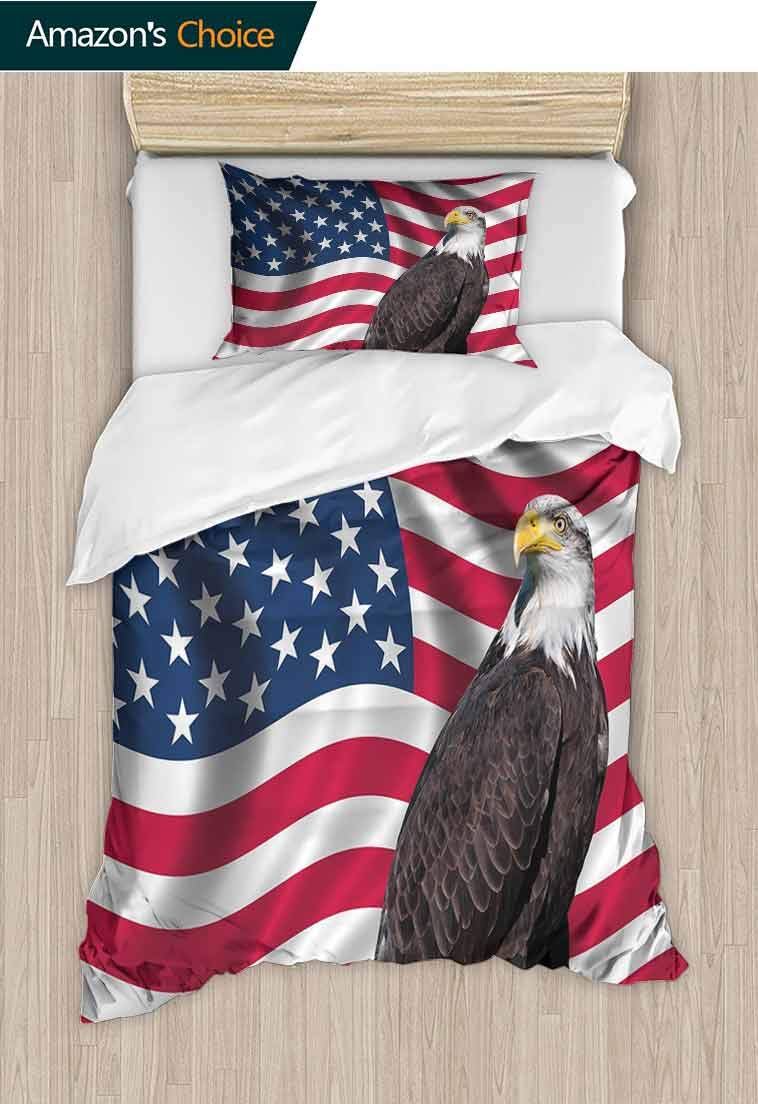 Eagle Custom Made Quilt Cover and Pillowcase Set, Patriotic Symbols of The Land with an American Flag with a Bald Eagle Nationalism, Decorative 2 Piece Bedding Set with 1 Pillow Sham Multicolor