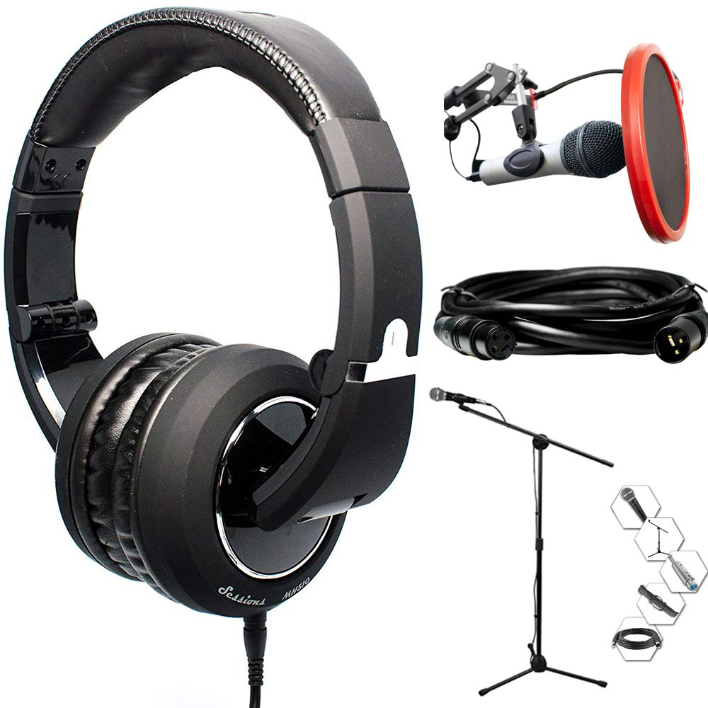 CAD Audio Closed-Back Studio Headphones (MH510) & Technical Pro Microphone Bundle Includes Headphones, Microphone, Stand, Holder, XLR Cables, Case and Wind Screen