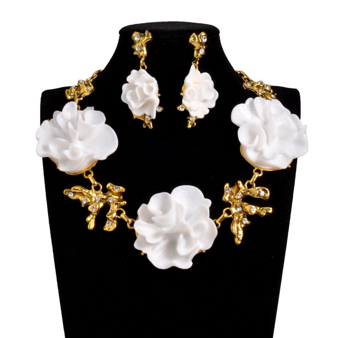 PSNECK Nigeria wedding Big Flower Fashion Jewelry sets Statement Choker Necklace african beads jewelry set PSEZY_VINTAGE_Necklace 0KX54VN352