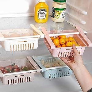 Refrigerator Organizer Bins Fridge Storage Box (Set of 4), Retractable Pull-Out Drawer Organizer Shelf Holder for Food Fresh-Keeping & Classified, Fit for Fridge Shelf Under 0.5 Inch