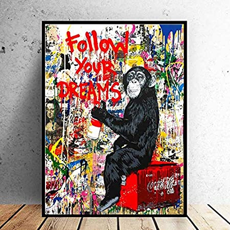 BOTTLEYK Banksy Graffiti-AFFE Bilder Leinwandbild XXL Modern Wohnung Wandbilder Wanddekoration Wohnzimmer Vlies Kunstdruck auf leinwand Wand Bild Motiv a-A-8867-c-m,#1,40x60cm