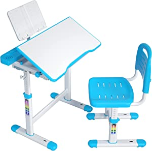 ErGear Height Adjustable Kids Desk and Chair Set with Tilt Desktop and Large Storage Drawer, Ergonomic Children Study Writing Table for Boys Girls Homeschooling