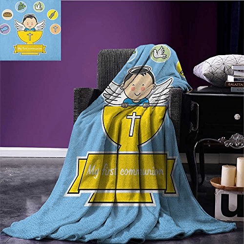 Religious emergency blanket My First Ritual Sign Boy Grapes Cup Bread Candle and Fish Wings Artwork Print Print Multicolor - Grape Kids Emergency