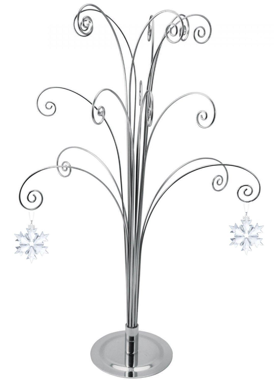 HOHIYA for Swarovski 2018 Annual Christmas Crystal Snowflake Ball Angel Star Ornament Stand Home Party Gift Decorations 20inch (Chrome)