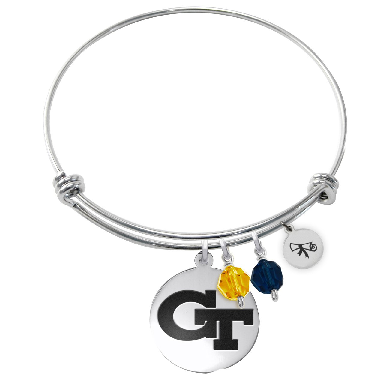 Georgia Technology Yellow Jackets Adjustable Graduation DIPLOMA Bracelet With Round Charm