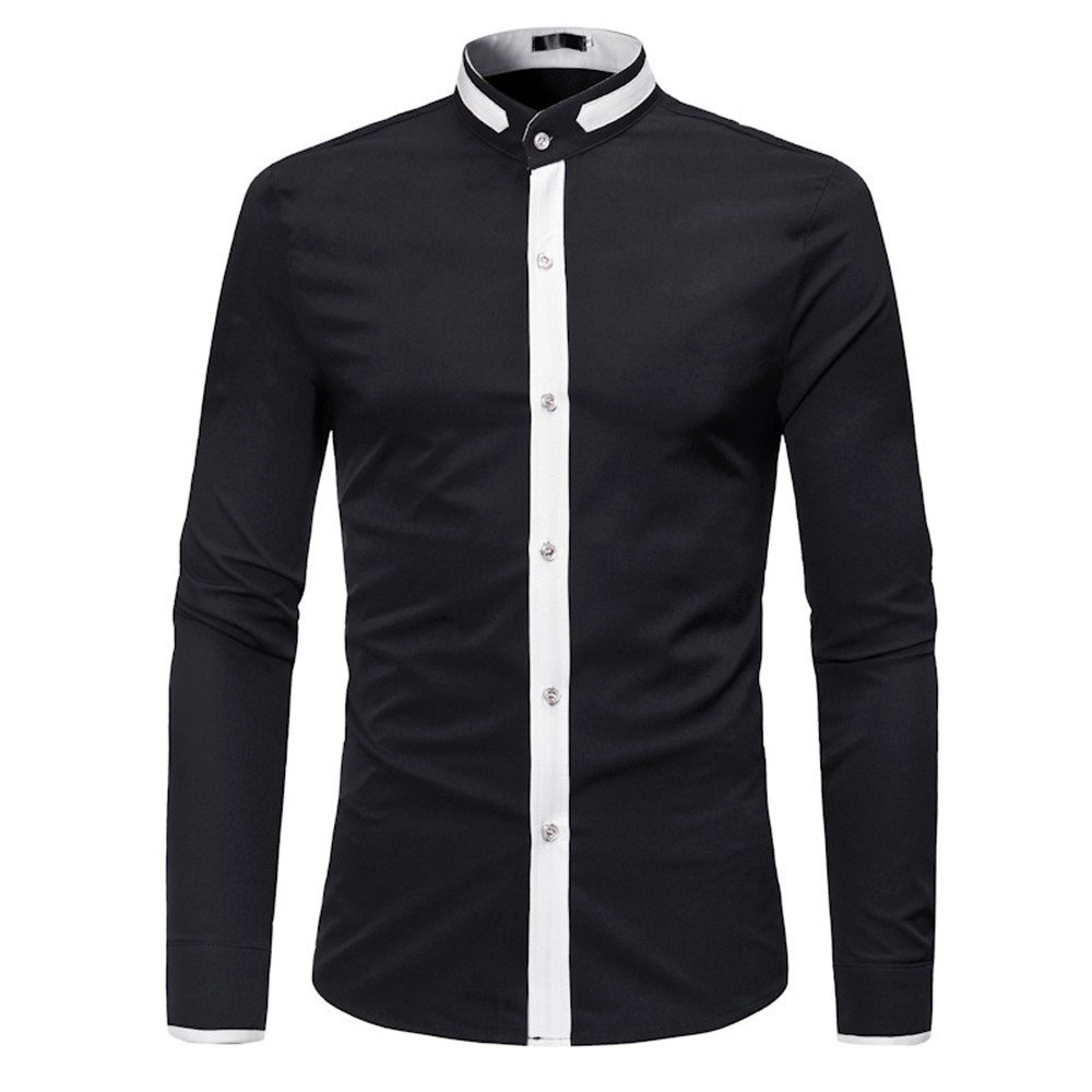 WM /& MW Mens Shirts Slim Fit Patchwork Summer Long Sleeve Button Stand Collar Shirt Casual Business Blouse