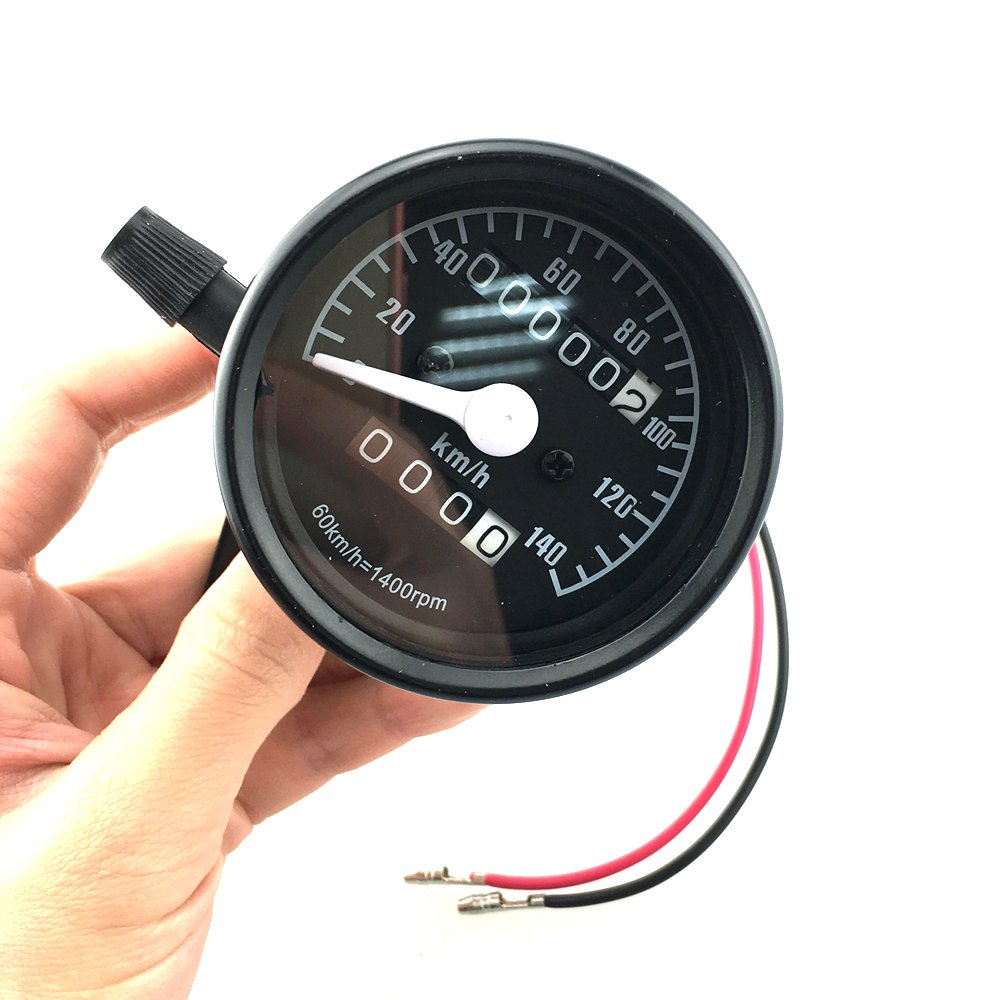 Iztoss Motorcycle Universal Dual Odometer Night Light Speedometer Gauge black display KPH