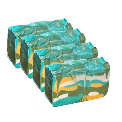 Pastilla de jabón de té verde (4 Bar Set)-Jabón de hierbas orgánico