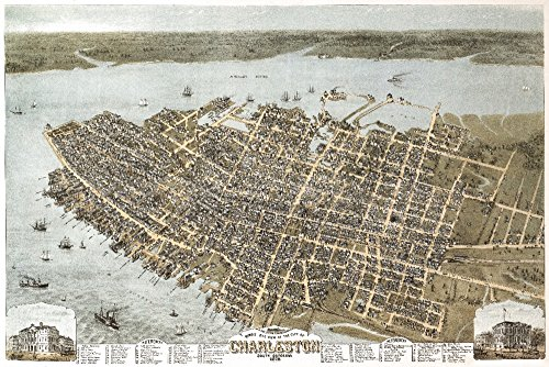 (Charleston, South Carolina - (1872) - Panoramic Map (36x54 Giclee Gallery Print, Wall Decor Travel Poster))