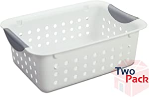 Sterilite 16228012 Small Ultra Basket White With Titanium Inserts - 2 Pack