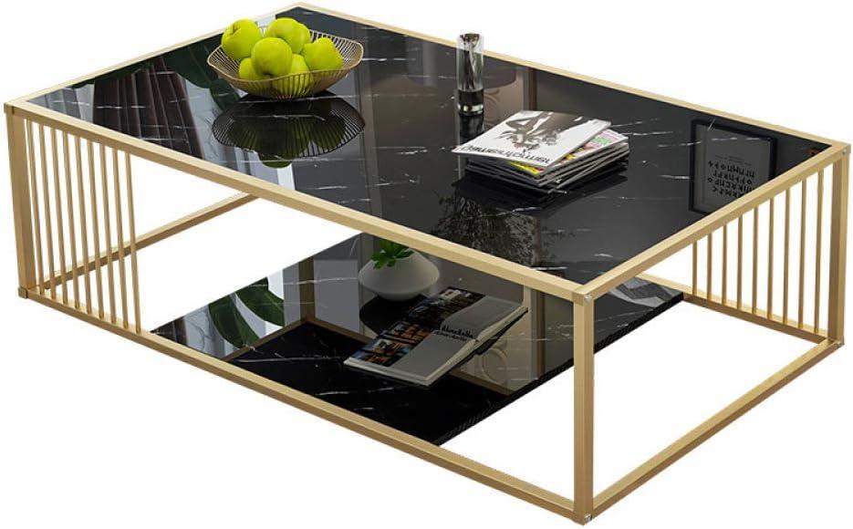 Alle Seizoenen Beschikbaar Moderne salontafel met opbergvak, rechthoekige salontafel met marmeren plaat en metalen frame voor de woonkamer, 47 inch, zwart zwart b0chiLu