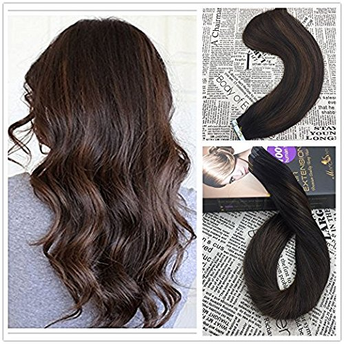 Moresoo 24 inch 20pcs/50g 100% Straight Remy Human Hair Natural Black #1B to Chocolate Brown #4 Balayage Ombre Two Tone Colored Seamless Skin Weft Tape In Hair Extensions (2 Tone Hair)