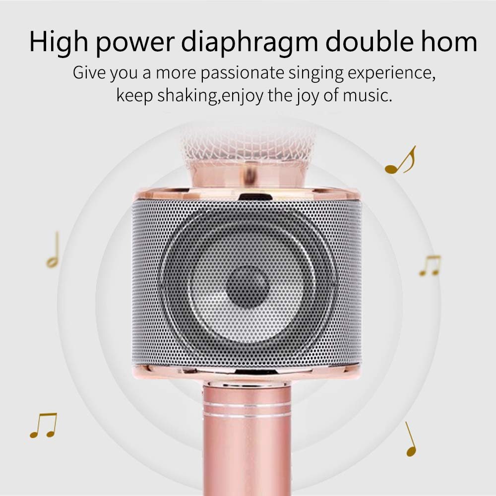 Karaoke Microphone for Girl, Toy Gift for 8-12 Year Old Girls Singing Microphone for Kids Boys Music Toy for 5-11 Year Old Kids Girl Party Gift Age 4-12 Girl Rose Gold Mic by Moff (Image #6)