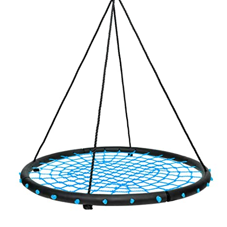 Smartxchoices 40 Kids Round Spider Web Tree Swing Set Black Steel ...
