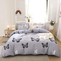 Merryword Butterfly Bedding Blue Grey Butterfly Duvet Cover Set Black White Butterfly Printed Gray Soft Microfiber…