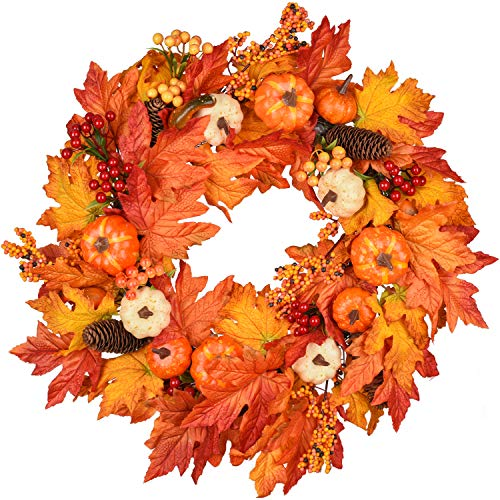 22 Inch Fall Wreath, Autumn Maple Leaf Harvest Thanksgiving Door Wreath
