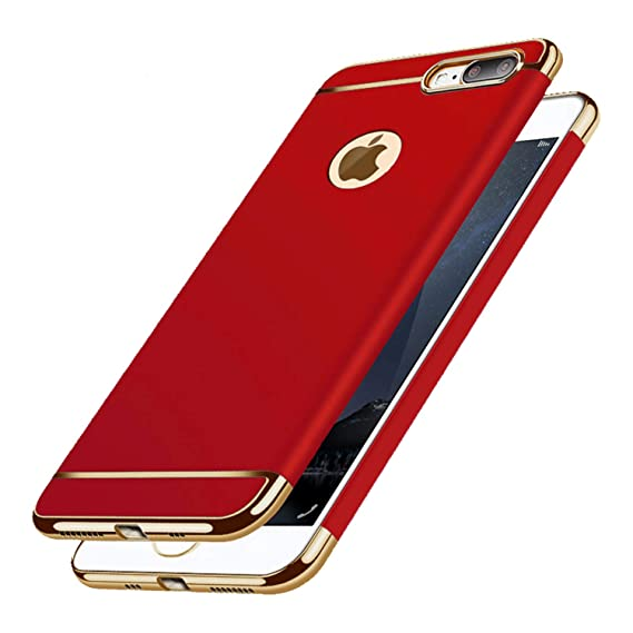 the best attitude 8ac4e f62b9 iPhone 8 Plus Case Matte Red Ultra Thin Slim Fit Full Body with Screen  Protector Included