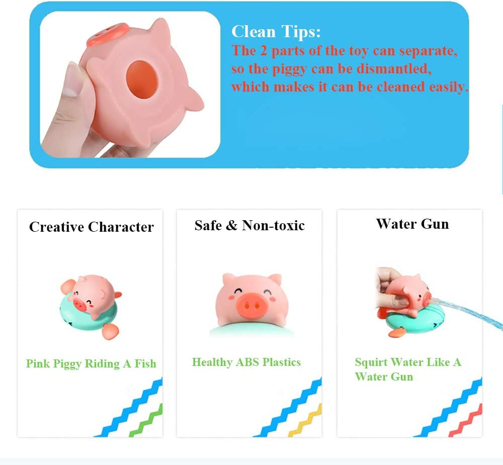 NEXTAKE Pull String Baby Bath Toy Pull /& Go Pink Piggy Cute Swimming Pig Windup Fish Water Spray Squirt Toy Clockwork Bathtub Toy for Toddlers