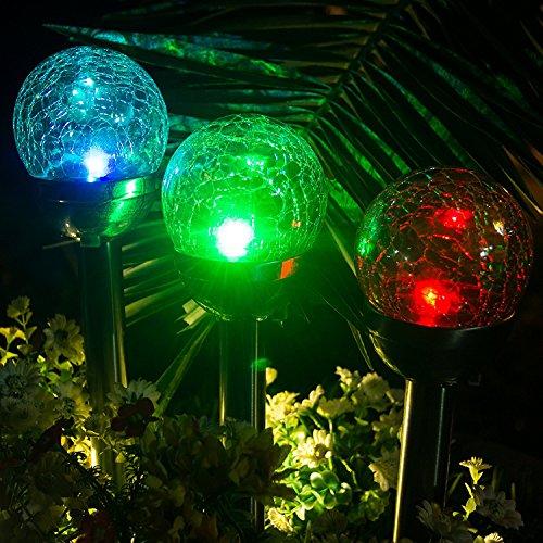 Gigalumi Solar Lights Outdoor Cracked Glass Ball Dual Led