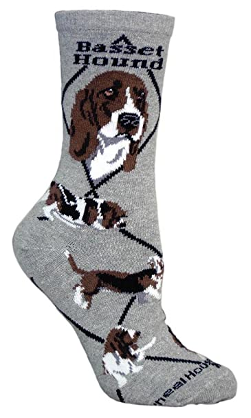 Basset Hound Dog Gray Large Cotton Socks