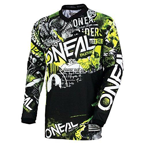 O'Neal Unisex-Adult Element Attack Jersey (Black/Hi-Viz, Youth Medium)