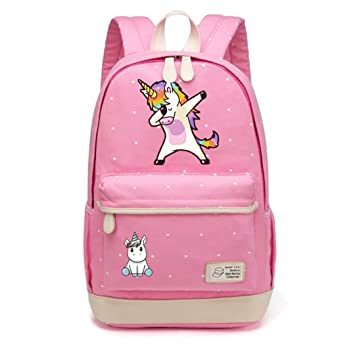 Amazon.com: Cute Cartoon For Girls Canvas Bag Flowers Wave Point Rucksacks Backpack Travel Shoulder Bag: Beauty Nail Shop