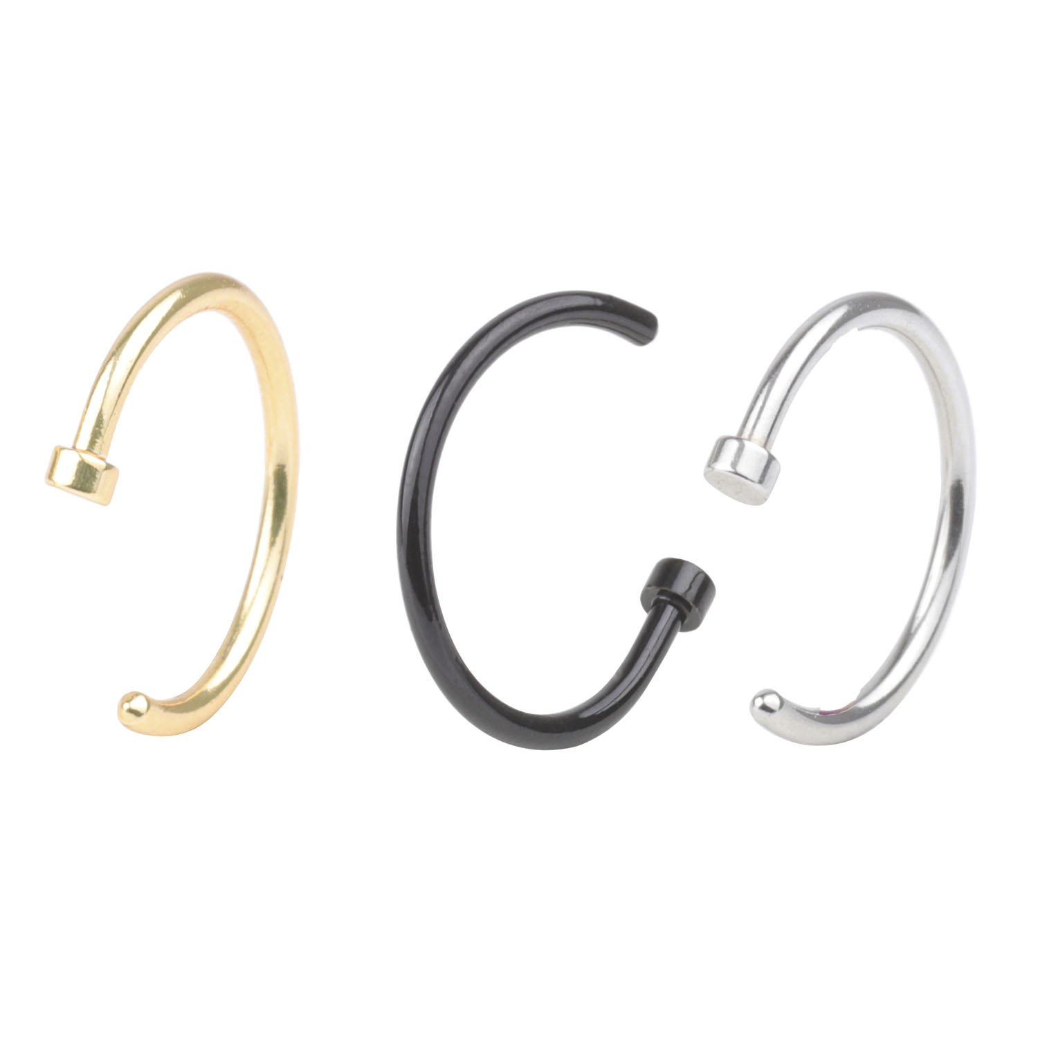 A+ CM 20G 3/8''(10mm) Stainless Steel Nose Studs Rings Unisex Body Jewelry Piercing Nose Hoop Ring Fashion Piercing Jewelry