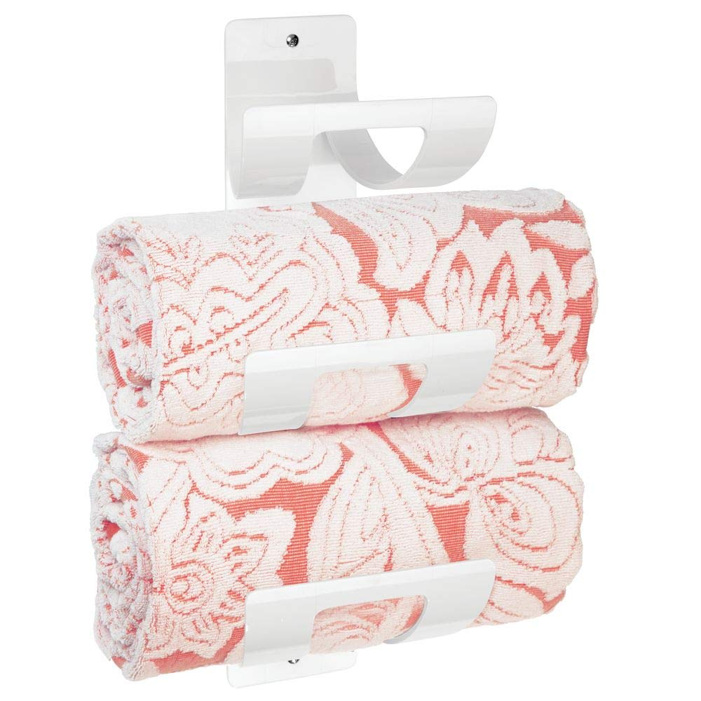 Elegante toallero de Pared para Toallas de Cualquier tama/ño MetroDecor mDesign Juego de 2 toalleros de ba/ño para Montar en la Pared Blanco Estante toallero con Tres Compartimentos