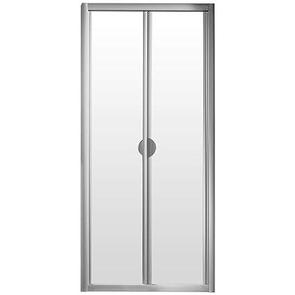 Puerta de ducha giratoria plegable de nicho, 80 x 185 cm, mampara de ducha