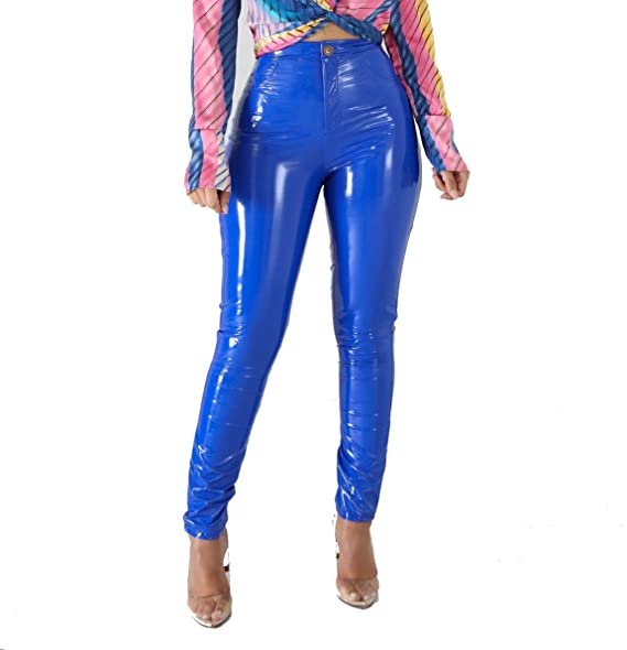 b16121d210942a VERWIN Women Velour Inside PU Leather Clinging Elastic Pants Sexy Stretchy  Fashion Leggings Blue S