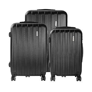 84cd71bf9c97 Amazon.com   Bugatti 3 Piece Hard Case Luggage, Black   Luggage Sets