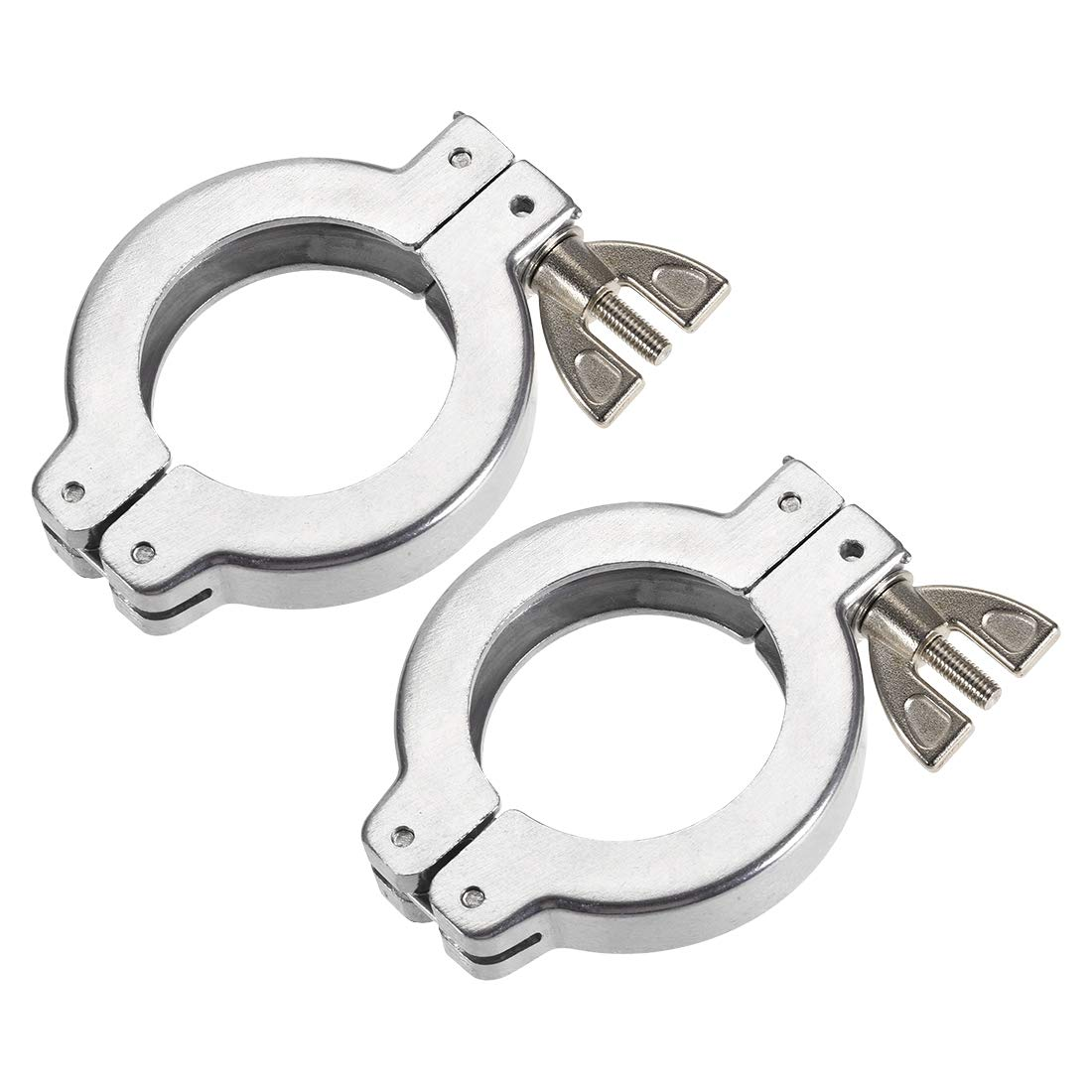 uxcell 2 Pcs Sanitary Tri-Clamp 68mm X 46mm Single Pin Tri Clamp Wing Nut for Ferrule TC