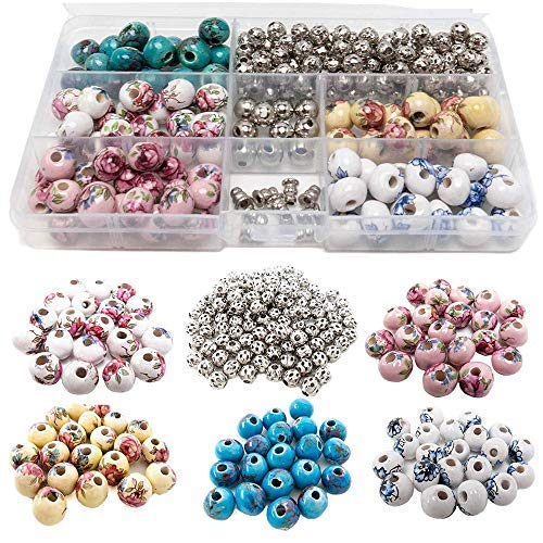 - 100 PCs Porcelain Bead Assortment & 120 Filigree Silver Beads Container Kit with Elastic Cord - Premium Quality Jewelry Making Finding Supplies for Adults - Great for Bracelets, Necklaces, Crafts (2)