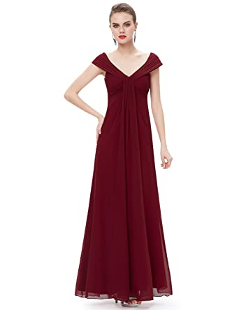 Ever Pretty Womens Juniors Floor Length Party Dress Black V Neck Ruched Prom Dresses 8UK Burgundy