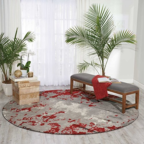 (Nourison TWI21  Twilight Modern/Contemporary  Grey/Red Grey/Red Area Rug  (8' x 8'))