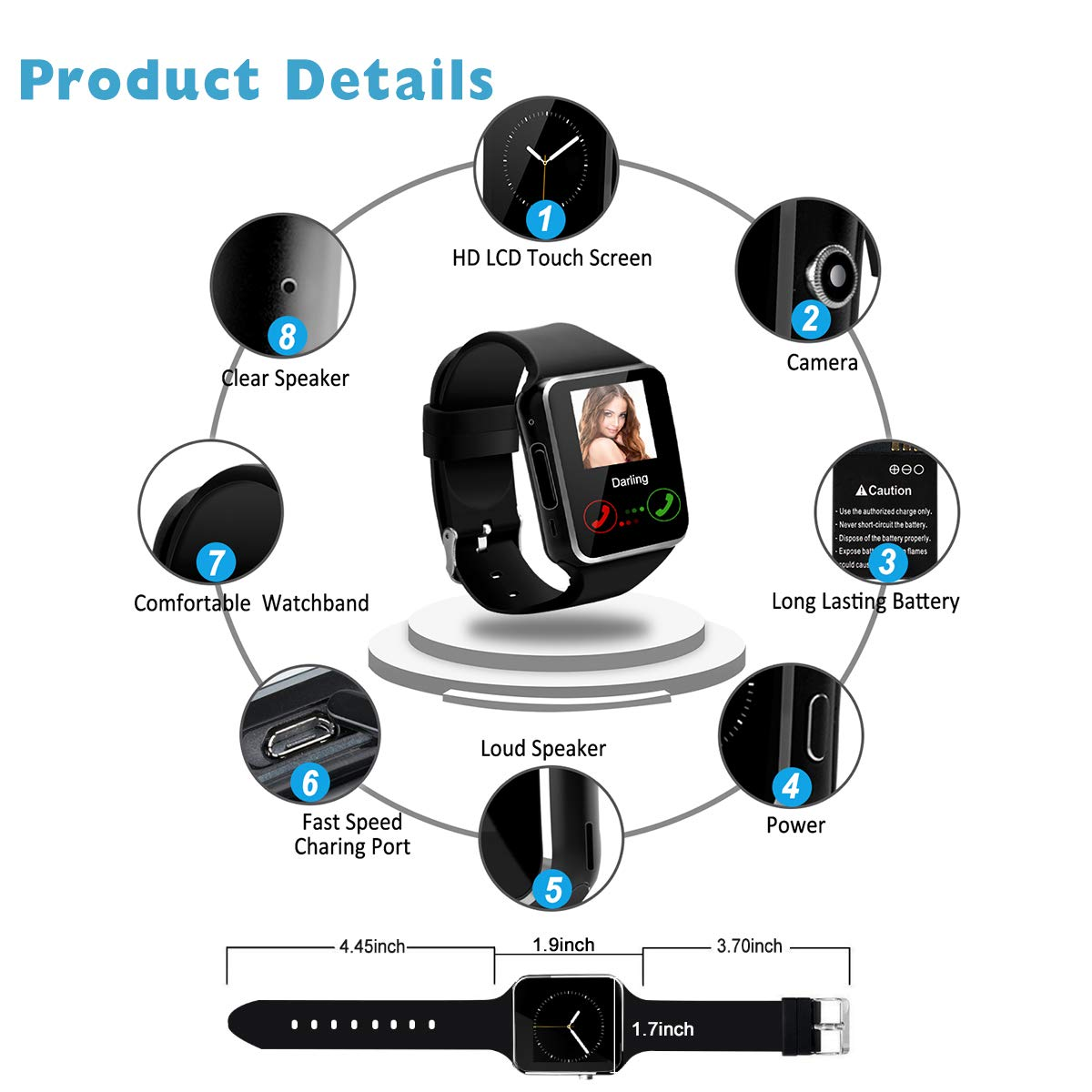 Smartwatch con Whatsapp,Bluetooth Smart Watch Pantalla táctil,Reloj Inteligente Hombre,Impermeable Smartwatches Compatible Android iOS Phone X 8 7 6 5 Plus ...