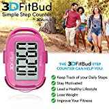 White 3DFitBud Simple Step Counter Walking 3D