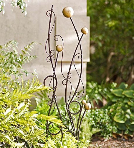 Freestanding Gold and Black Abstract Metal Iron Garden Trellis Functional Plant Support Decorative Outdoor Yard Art 11.75 W x 42.25 H x 13.75 D
