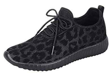 c99e672ec64 The Collection Jill Womens Athletic Shoes Casual Breathable Sneakers, Black  Leopard, 6
